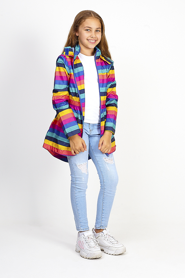 Rainbow Stripe Mac (3 16yrs) | Girls